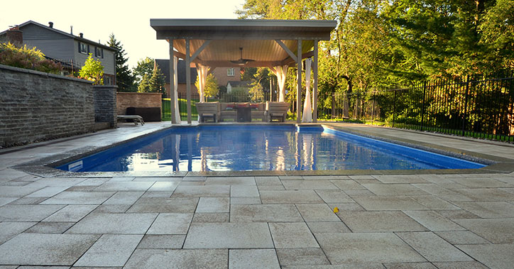 renovated pool with cabana at far end