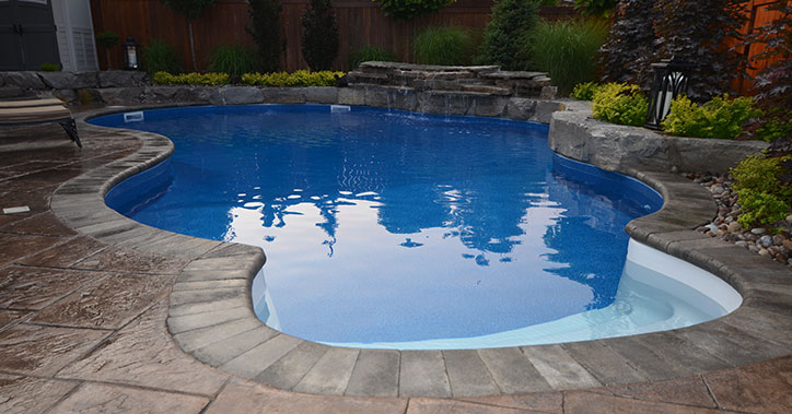 pool with printed concrete surround