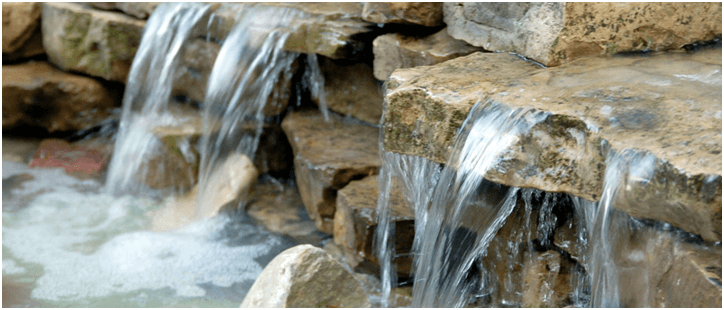 detail photo of stone waterfall