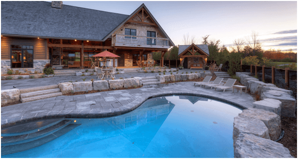 log home with pool