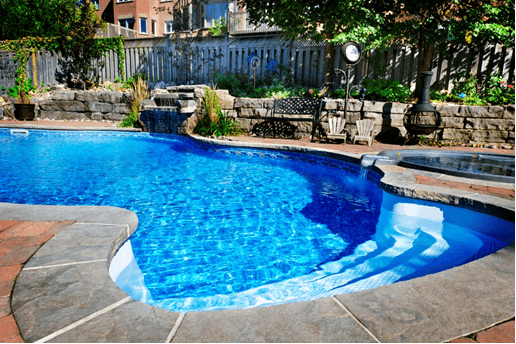 pool with stone surround