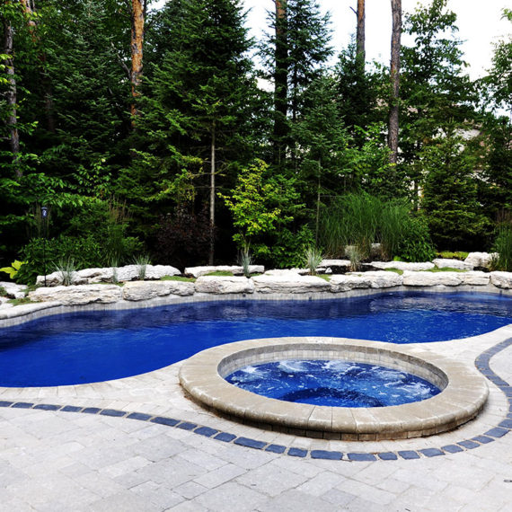 tree-lined backyard pool with circular hot tub