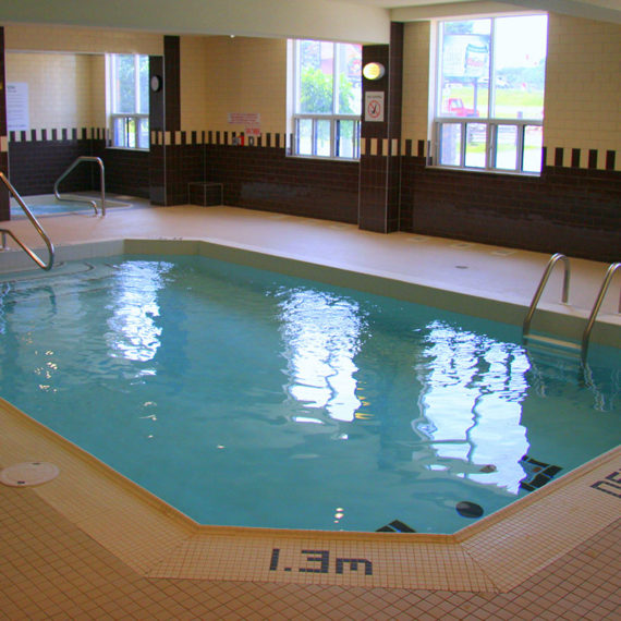 small indoor pool and whirlpool