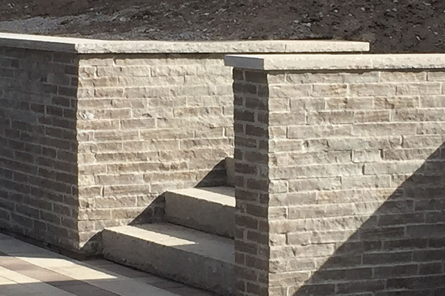 re-faced brick retaining wall