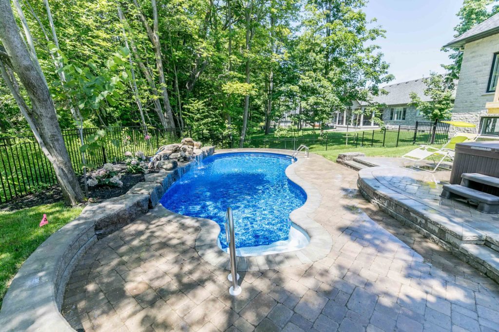 Inground Pool and Landscaping - Springwater, ON | Blue Diamond on backyard concrete, indoor pool options, backyard fence options, backyard roof, inground pool options, backyard basketball court options, fiberglass pool options, pool resurfacing options, baby pool options,