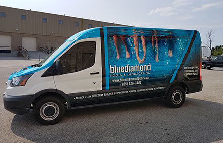 blue diamond pools and landscaping service van