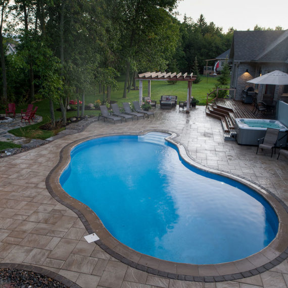 High angle view of Red Oak pool