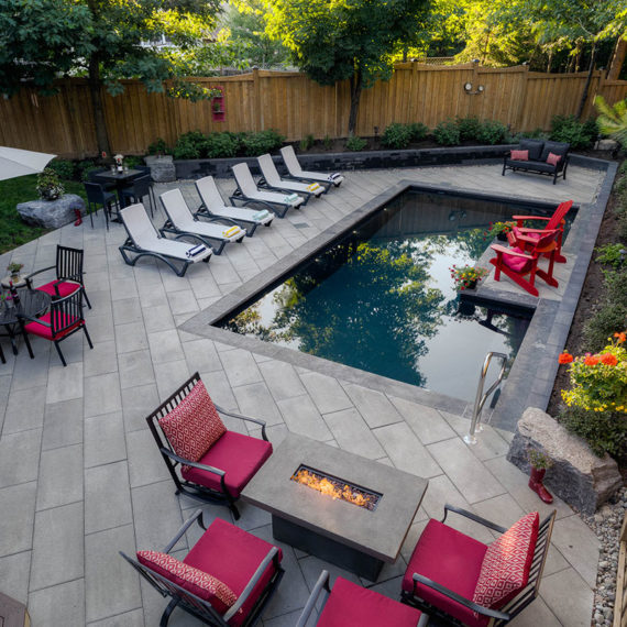 Wildwood Pool and patio, outdoor fireplace